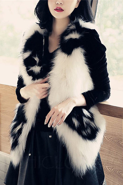 Chicloth Collarless Skull Faux Fur Waistcoat-Faux Fur Coats-Chicloth