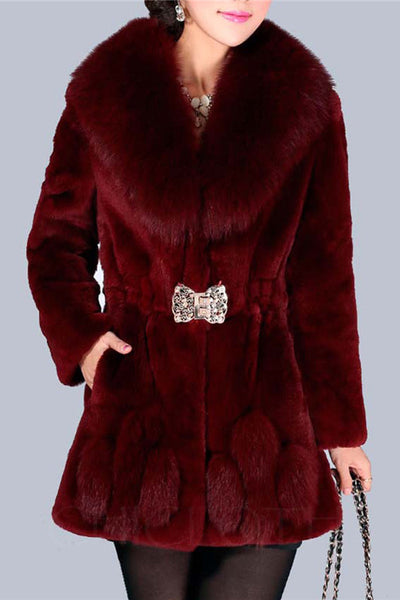 Chicloth Lapel Elastic Waist Fluffy Faux Fur Plain Coat-Faux Fur Coats-Chicloth