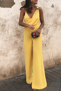 A| Chicloth Sexy Fashion Yellow Sleeveless Jumpsuits