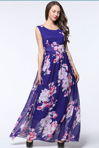 A| Chicloth Bohemian Chiffon Floral Print High Neck Sleeveless Ruffle Maxi Gown Dress