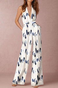 A| Chicloth Fashion Sleeveless Floral Print Jumpsuits