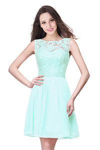 AA| Chicloth A-Line Short Sleeveless Bateau Chiffon Ruffles Lace Top Prom Dresses