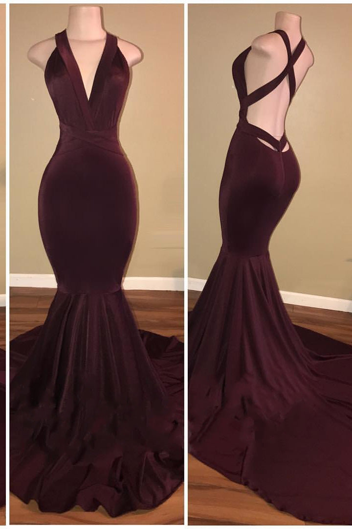 B/ Chicloth Elegant V-Neck Mermaid Burgundy Long Prom Evening Dresses - Silver / US 12