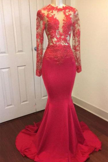 179fc7a134537 A| Chicloth Elegant Sheer Lace Prom Dresses | Red Long Sleeves Mermaid  Evening Gowns
