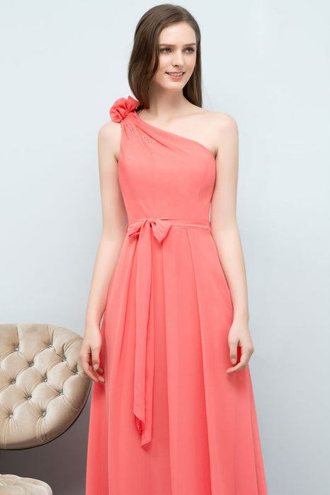 Chicloth A-line Chiffon One-Shoulder Sleeveless Floor-Length Bridesmaid Dress with Bow Sash-Bridesmaid Dresses-Chicloth
