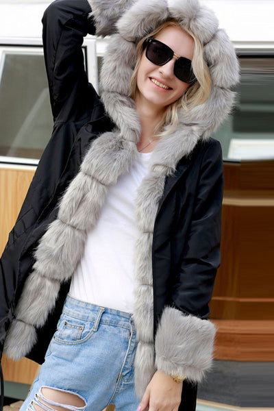 A| Chicloth Hooded Long Sleeves Warm Faux Fur Coats-Faux Fur Coats-Chicloth