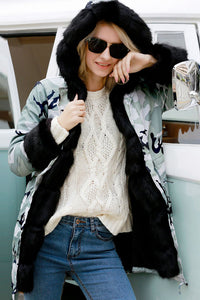 A| Chicloth Long Hooded Printed Faux Fur Coats-Faux Fur Coats-Chicloth
