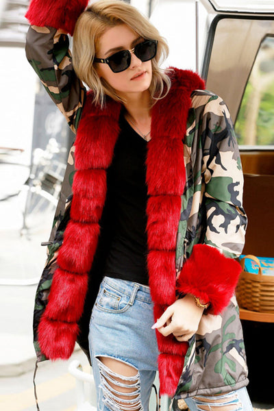 A| Chicloth Hooded Camouflage Warm Winter Coats Faux Fur Coats-Faux Fur Coats-Chicloth