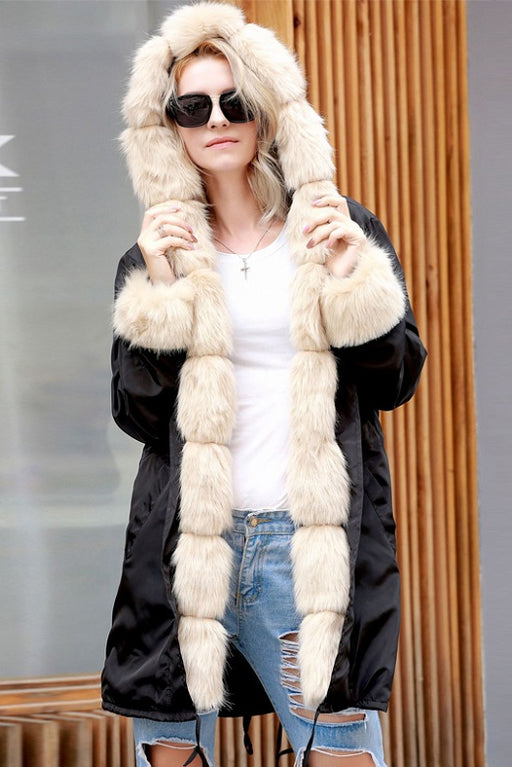 A| Chicloth Long Hooded Faux Fur Coats-Faux Fur Coats-Chicloth