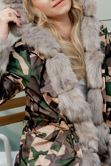 A| Chicloth Long Hooded Printed Warm Faux Fur Coats-Faux Fur Coats-Chicloth