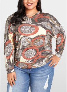 Chicloth Women Plus Size Blouse Geometric Print Bat Long Sleeves O-neck Loose Top-Plus Size Tops-Chicloth