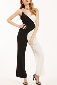Chicloth Black and White String V-Neck Open Back Jumpsuit