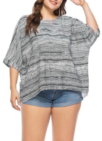 C| Chicloth Women Plus Size Loose Blouse Striped Half Sleeves Elegant Top Pullover-plus size tops-Chicloth