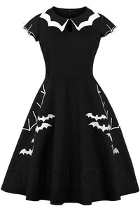 B| Chicloth Halloween Bat Net Vintage Plus Size Dress-party dresses-Chicloth