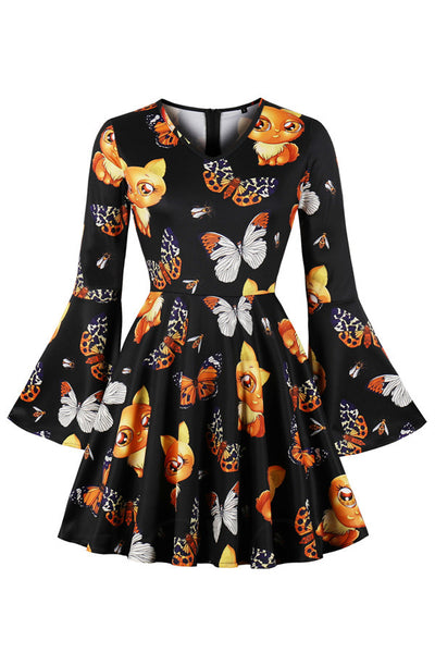 B| Chicloth Halloween Flare Sleeve Printed High Waist Dress