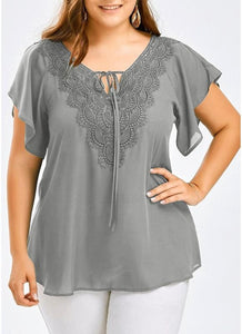 Chicloth Women Plus Size Solid Blouse V Neck Crochet Lace Shirt Top-Plus Size Tops-Chicloth