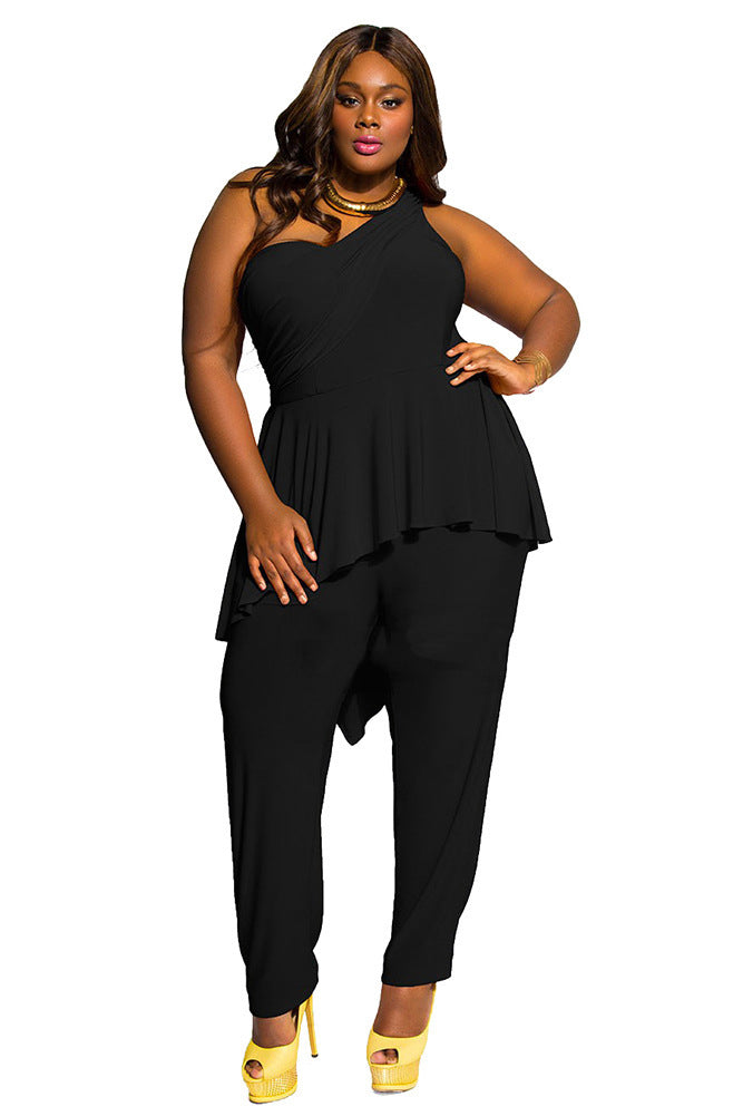 B| Chicloth Black Ployester Casual Jumpsuits Tight Fit Jumpsuits-Jumpsuits-Chicloth