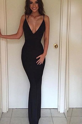 B| Backless Straps Sheath Summer Sexy Cheap V-neck Evening Dress - Chicloth