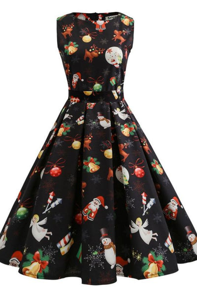 Black Sleeveless Halloween Christmas Printed Midi Party Swing Summer Audrey Hepburn Dresses-Christmas Fashions-Chicloth