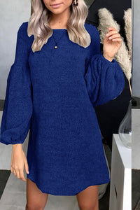 A| Chicloth Autumn and Winter Fashion Knit Sweater Dress Bottoming Shirt Puff Sleeve Tunic Top