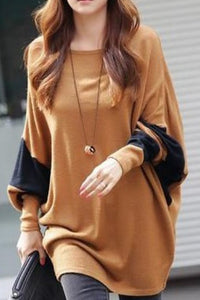 A| Chicloth Color Block Casual Cotton Round Neckline Long Sleeve Blouses