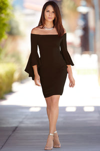 B| Chicloth 2018 Off The Shoulder Bell Sleeve Dress - Chicloth