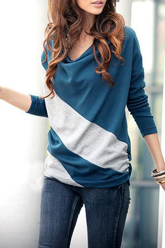 A| Chicloth Korean Style Split Joint Bat Sleeve T-Shirt-Chicloth
