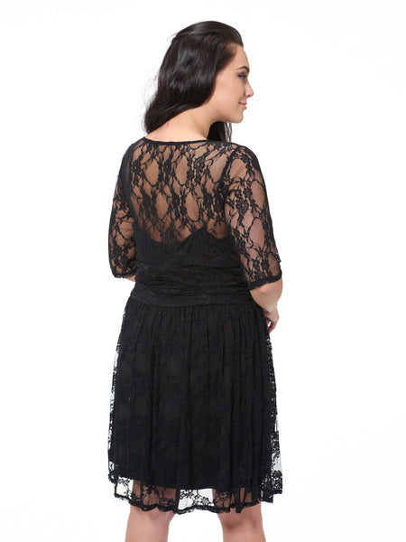 Chicloth black sexy lace flower half sleeve dress