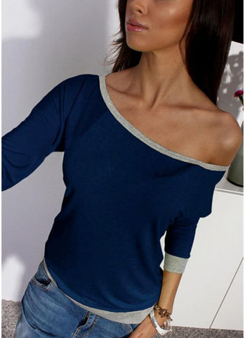 B| Chicloth One Shoulder Off the Shoulder Contrast Color 3/4 Sleeve Plus Size Tops-polyester,offtheshoulder,longsleeves,tshirts,adult-Chicloth