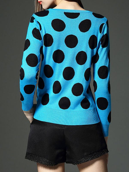 Blue Polka Dots Crew Neck Long Sleeve Sweaters-Sweaters-Chicloth