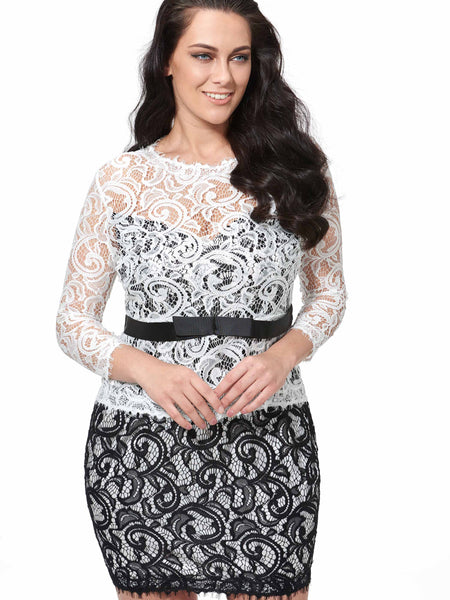 Chicloth Black and White Lace Hollow Belt Bodycon Plus Size Dress