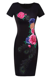 A| Chicloth Kiss From A Rose Black Bodycon Dress-Chicloth