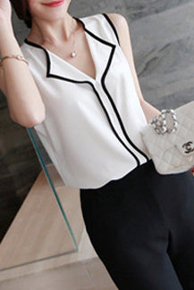 A| Chicloth Color Block Casual Polyester Collar Sleeveless Blouses-Chicloth