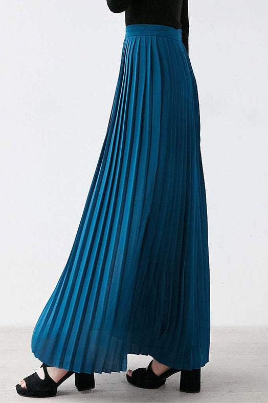 A/ Chicloth Women Blush Pleated Full Length Maxi Skirt - Blue / XXL