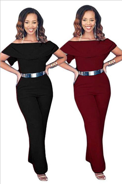 B| Chicloth Black Ployester Sexy Wide Cylinder Jumpsuits