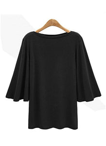 Chicloth Women Batwing Sleeve Plus Size O Neck 3/4 Sleeve T-Shirt-Plus Size Tops-Chicloth