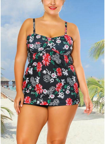 B| Chicloth Plus Size Cami Top Boxer Triangle Floral Printed Spaghetti Strap Sleeveless Two Piece Set Swimsuit