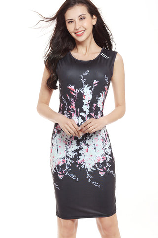 B| Chicloth Hot Women Sleeveless Bodycon Floral Prints Causal Mini Dresses - Chicloth