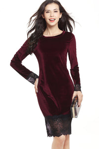 B| Chicloth Hot Sales Women Long Sleeves Lace Slim Bodycon Pencil Dresses - Chicloth