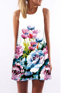 A| Chicloth Cotton Floral Sleeveless Shift Dress Bho Dress-Chicloth