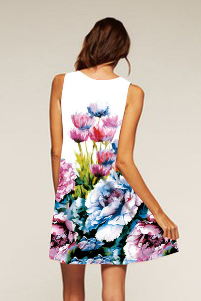 A| Chicloth Cotton Floral Sleeveless Shift Dress Bho Dress - Chicloth
