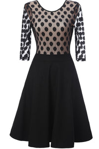 A| Chicloth Black Dot Round Neck Vintage Lace Dress-Chicloth