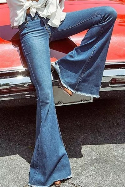 A| Chicloth Dark Blue Pockets Bell Bottoms Long Flare Jeans