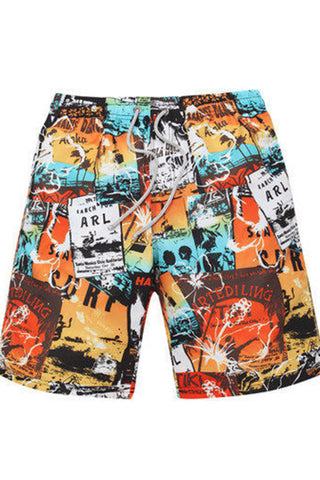 A| Chicloth Cartoon Hand Painted Men's Board Shorts Swimwear Trunks
