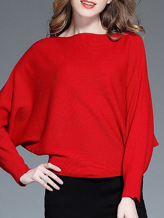 Batwing Casual Sweaters-Sweaters-Chicloth