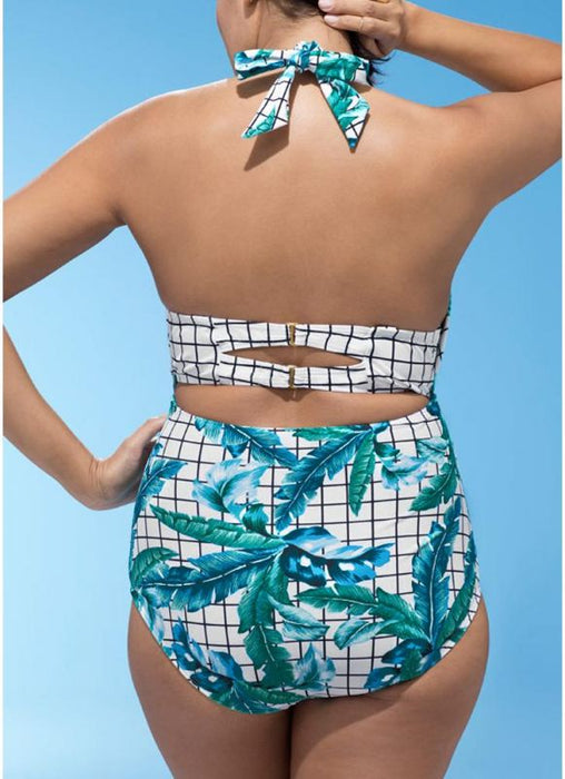 B| Chicloth Plus Size Plaid Leaves Print Deep V Swimsuit Set-polyester,chinlon,onepieceswimsuit-Chicloth