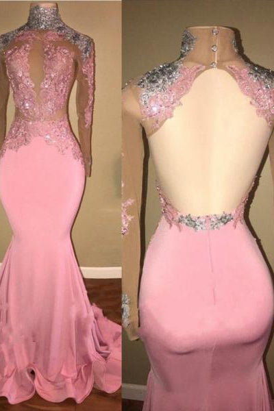 db53edf863 A| Chicloth Elegant Pink Mermaid Prom Dresses | High Neck Lace Appliques  Beaded Evening Gowns