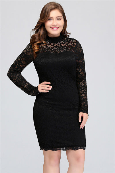 A| Chicloth Women'S Sexy Lace Long Sleeve Knee Length Party Dress Plus Size Dresses
