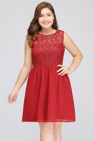 A| Chicloth A Line Red Short Prom DressPlus Size Dresses