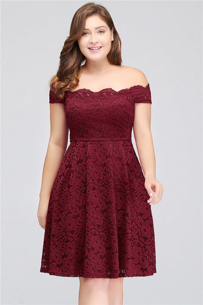 A| Chicloth Backless Lace Plus Size Burgundy Plus Size Dresses-Plus size dresses-Chicloth